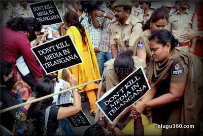 Scribes in Telangana Protest Against Notices to T News