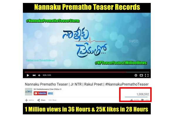 Nannaku Prematho teaser clocks 1 Million hits