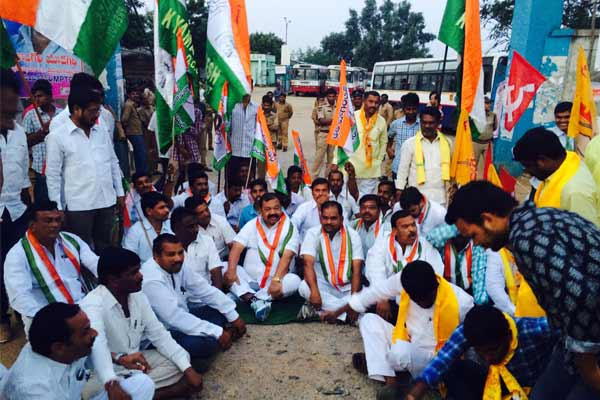 T-Bandh commences with dharnas & arrests
