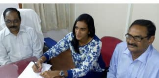 P V Sindhu takes charge as Deputy Collector