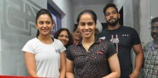 Saina Nehwal and Rakul Preet Singh Grand Opening of F45 GYM at KOKAPET
