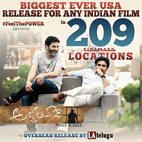 Agnyaathavaasi The Largest Screened Indian Film In Cinemark History