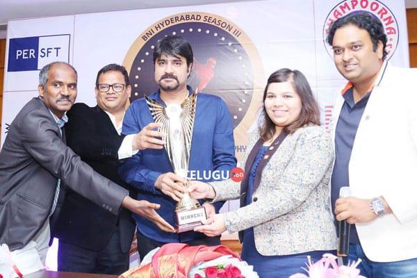 Srikanth unveils the TVS Shampoorna Bharath Shah Cricket Trophy 2018