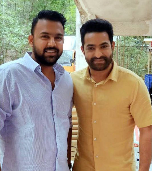 Director Tharun Bhascker with NTR on the sets of Aravindha Sametha