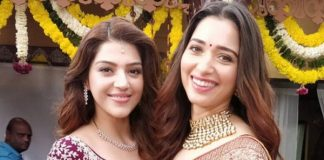 Mehreen and Tamannaah on the sets of f2