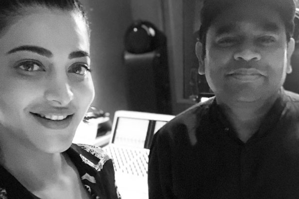 Shruti Haasan meets Rahman at his LA studio