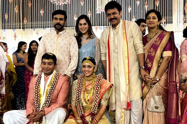 Upasana and Ram Charan in Venky's daughter wedding
