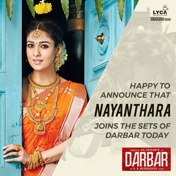 Nayanthara joins the sets of Rajinikanth 's Next Darbar
