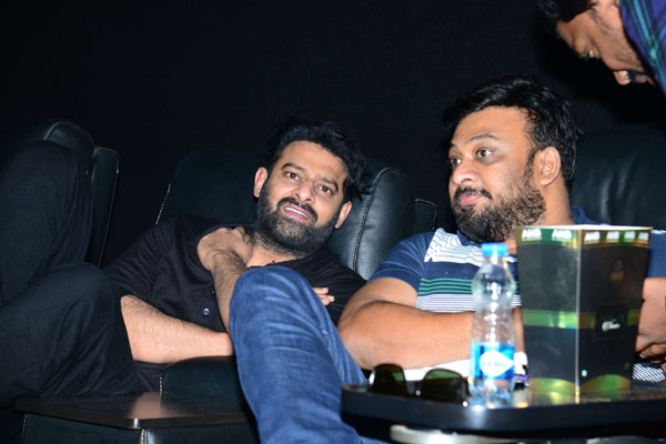 Prabhas watching Saaho movie at AMB Cinemas