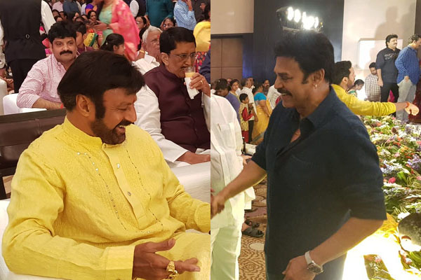 Balayya and Venkatesh attends Syeraa Mega bash