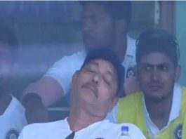 Viral now: Ravi Shastri spotted taking a nap during the match