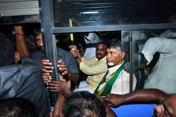 Chandrababu Naidu detained amid high drama in Vijayawada