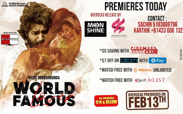 World Famous Lover Overseas Premieres Today