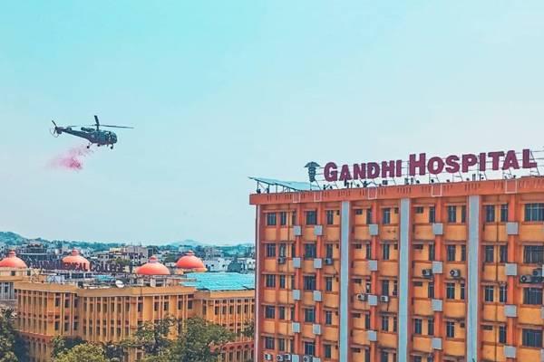IAF chopper showers petals on Hyderabad's Gandhi Hospital