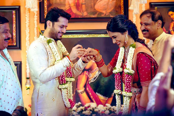 All Smiles: Nithiin and Shalini Engaged