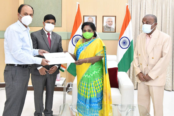 Tamilisai receives Warrant of Appointment as Puducherry LG