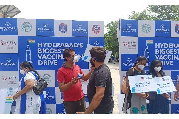 Mega vaccination drive held at Hitex, Hyderabad