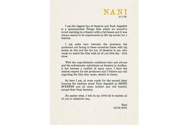 Nani's heart-touching message about Tuck Jagadish